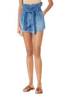 Paperbag Self-Belt Denim Shorts with Cuff in Dancing Queen Blank NYC
