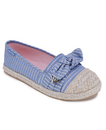 Little Girls Striped Chambray Knotted Espadrille Flats Nautica