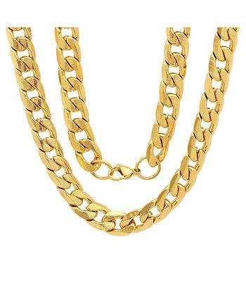 Мужские позолоченные 18k позолоченные ожерелья из нержавеющей стали с акцентом на кубинскую цепочку 6 мм и 24 дюйма STEELTIME