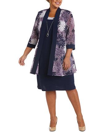 Платье больших размеров и сетчатая куртка с принтом R & M Richards
