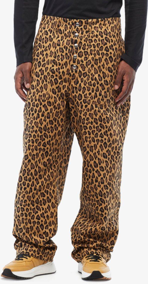 Брюки-манжеты с контрастной леопардовой отделкой Relax Fit MARNI