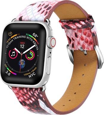 Яблочные часы Red Posh Tech с тиснением под змеиную кожу, 42 мм, ремешок 1, 2, 3, 4 POSH TECH