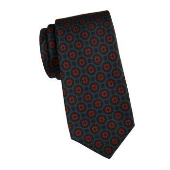 Шелковый галстук с цветочным медальоном Kiton