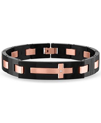 Мужской браслет с перекрестными звеньями с бриллиантовым акцентом из нержавеющей стали с ионным покрытием розового и черного цветов Macy's