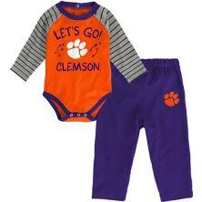 Newborn & Infant Orange/Purple Clemson Tigers Touchdown 2.0 Raglan Long Sleeve Bodysuit & Pants Set Outerstuff