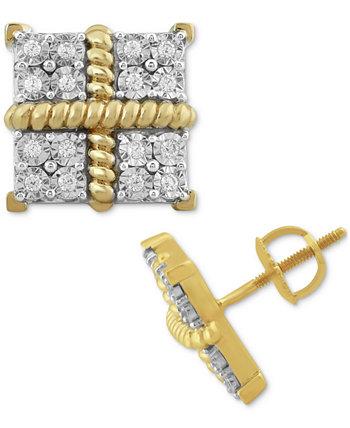 Мужские серьги-гвоздики Diamond Square Clusters (1/4 карата) из позолоченного серебра 10 карат Macy's