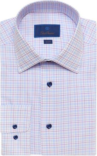 Классическая рубашка в клетку с отделкой по фигуре David Donahue