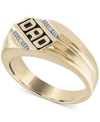 """Кольцо мужское с бриллиантами Accent """"DAD"""" из стерлингового серебра 14 карат с золотым покрытием Macy's"""