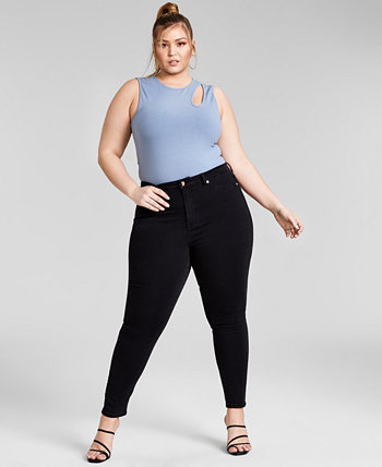 Trendy Plus Size Asymmetrical Sleeveless Bodysuit, Created for Macy's Nina Parker