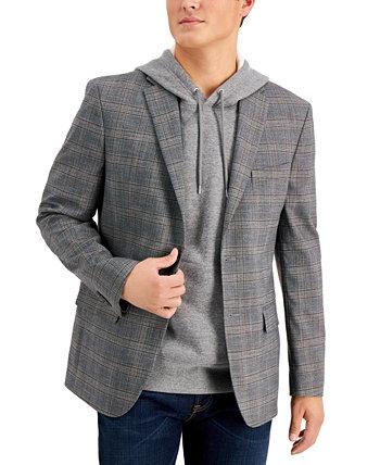 Мужской пиджак в серо-коричневую клетку Modern-Fit Tommy Hilfiger