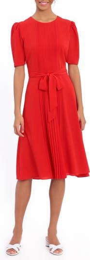 Jewel Neck Pleated Catalina Midi Dress London Times