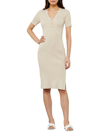 Button-Front Ribbed Knit Sweater Dress BCBGMAXAZRIA