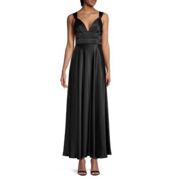 Silk Pintuck-Pleated Gown DANNIJO
