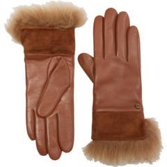 Кожаные перчатки с замшевыми и меховыми манжетами UGG