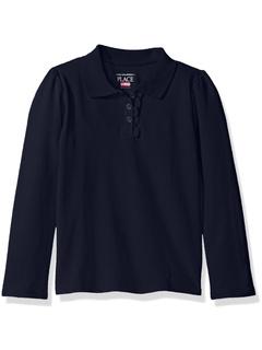 Uniform Long Sleeve Ruffle Pique Polo (Toddler) The Children's Place