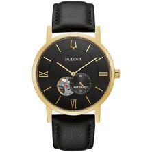 Мужские автоматические черные кожаные часы Bulova - 97A154K Bulova