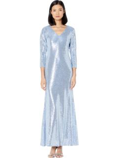 Длинное платье с V-образным вырезом с рукавами 3/4 MARINA