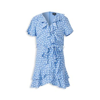 Girl's Ditsy Ruffled Wrap Dress Bardot Junior