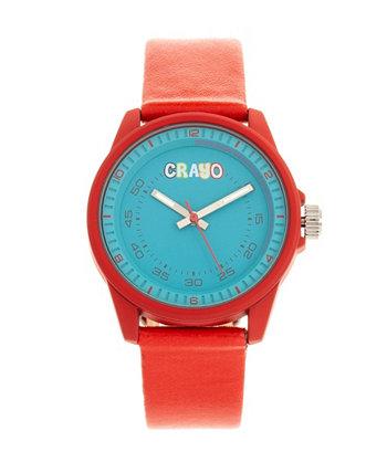 Часы с ремешком из красной искусственной кожи унисекс 34 мм Crayo