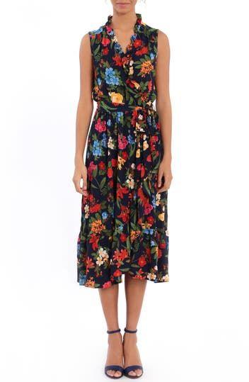Платье с запахом и оборками Botanical London Times