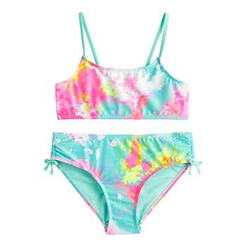 Girls 7-16 SO® Tie-Dye Bikini & Side Tie Bottoms Swimsuit Set SO