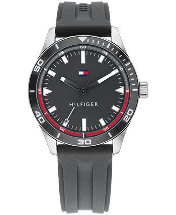 Мужские часы с серым силиконовым ремешком 44 мм, созданы для Macy's Tommy Hilfiger