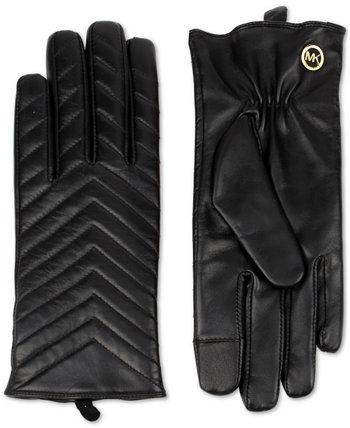 Стеганые кожаные перчатки Michael Kors
