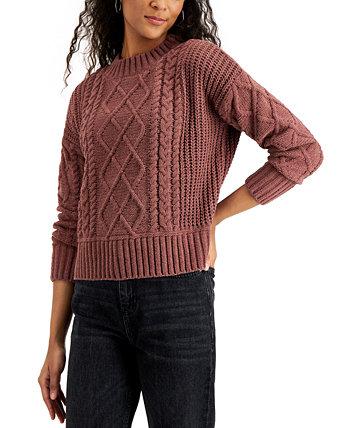 Джуниорский свитер вязанной вязки из синели Hippie Rose