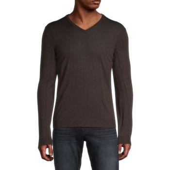 Шерстяной свитер с V-образным вырезом John Varvatos