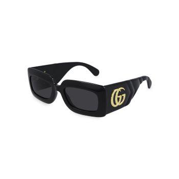 Солнцезащитные очки Shield прямоугольной формы 53 мм GUCCI