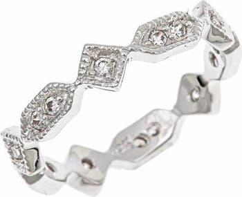 Кольцо в викторианском стиле из стерлингового серебра с бриллиантом CZ Sterling Forever