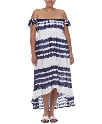 Платье больших размеров с открытыми плечами и принтом тай-дай, прикрытие Raviya