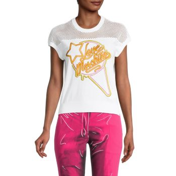 Mesh Embroidered Logo T-Shirt LOVE Moschino