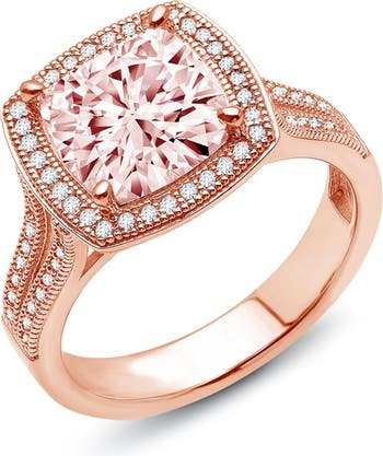 Квадратное кольцо из стерлингового серебра с покрытием из розового золота с имитацией бриллианта и морганита LaFonn