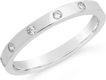 Стерлинговое серебро Тонкое классическое кольцо-браслет CZ Station Sterling Forever