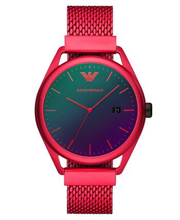 Мужские красные часы с алюминиевым браслетом и сеткой 43 мм Emporio Armani