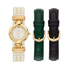 Peugeot Women's Simulated Pearl Watch & Interchangeable Leather Band Set - 528G-1 Peugeot