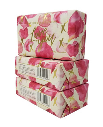 Love You - Petals - кусковое мыло, упаковка из 3 штук по 7 унций каждая Wavertree & London