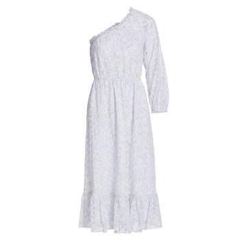 Миди-платье на одно плечо с прорезями ML Monique Lhuillier
