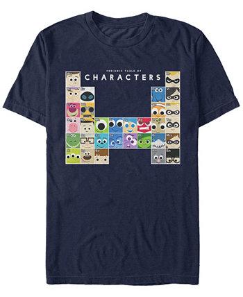 Мужская футболка с короткими рукавами с героями фильмов и таблицей Менделеева Disney Pixar