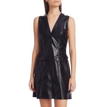 Платье-рубашка трапециевидной формы из веганской кожи Menphi без рукавов Nanushka
