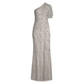 Beaded Asymmetric Gown Aidan Mattox