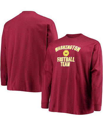 Men's Big and Tall Burgundy Washington Football Team Lockup Long Sleeve T-shirt Profile