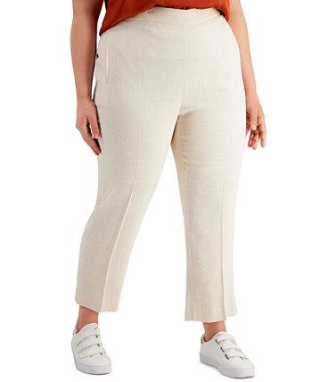 Льняные брюки без застежки большого размера с высокой талией, созданные для Macy's Bar III