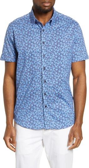 Трикотажная рубашка с короткими рукавами и цветочным принтом на пуговицах Stone Rose