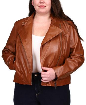 Мото кожаная куртка больших размеров Michael Kors
