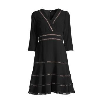 Fit & amp; Расклешенное платье из крепа SHANI