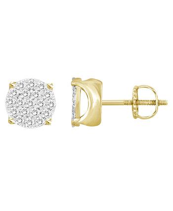 Набор мужских серег с бриллиантами (1/2 карата) из желтого золота 10 карат Macy's