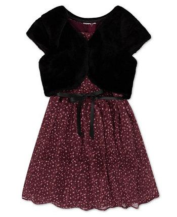 Big Girls Floral Lurex Chiffon Faux Fur Shrug and Dress Set, 2 Piece Speechless