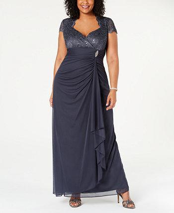 Платье большого размера с блестками и кружевом с рюшами Betsy & Adam